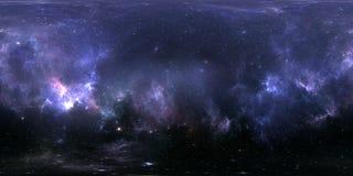 Projection de 360 Equirectangular Fond de l'espace avec la nébuleuse et les étoiles Panorama, carte d'environnement Panorama sphé Images libres de droits