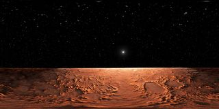 Projection de 360 Equirectangular de Mars, carte d'environnement de HDRI Panorama sphérique Images stock