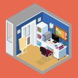 Projection isométrique de l'intérieur de la salle du ` s d'artiste Vecto illustration de vecteur