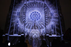 Projection mapping at St Ludmila Church in Prague Stock Photo