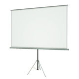 Projection Screen. Blank portable conference projection screen over white background. 3D rendered image Stock Photos