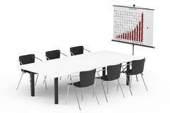 Projection Screen with Business Chart, Table and Chairs Royalty Free Stock Images