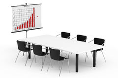 Projection Screen with Business Chart, Table and Chairs. On a white background Royalty Free Stock Image