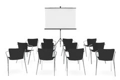 Projection Screen and Chairs Royalty Free Stock Photo