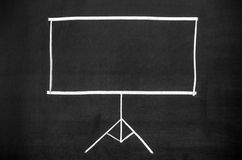 Projection screen. Empty the projection screen drawn on blackboard Stock Photo