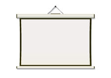 Projection screen hang. White projection screen hanging from wall with copyspace Royalty Free Stock Images
