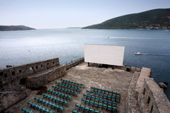 Projection Screen on Herceg Novi fortress Royalty Free Stock Photography