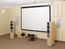 Projection Screen in home theater. Stock Photo