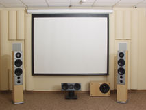 Projection Screen in home theater. Projection Screen is in home theater Royalty Free Stock Photos