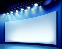 Projection screen on the stage. Vector illustration. Stock Images