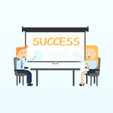 Projection screen. Modern business teachers giving lecture, training, seminar or presentation. Royalty Free Stock Photos