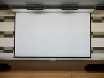 Projection Screen on Stage. Blank Projection Screen on Stage for presentation background royalty free stock images