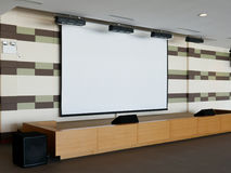 Projection Screen on Stage stock photo