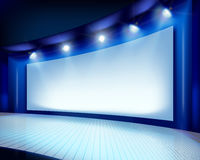 Projection screen on the stage. Vector illustration. Big projection screen on the stage. Vector illustration Royalty Free Stock Photography