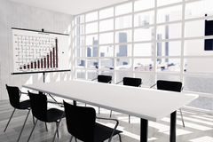 Projection Screen, Table and Chairs in Office Room. 3d rendering Royalty Free Stock Photo