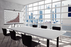 Projection Screen, Table and Chairs in Office Room Royalty Free Stock Images