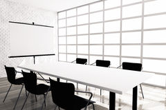 Projection Screen, Table and Chairs in Office Room. 3d rendering royalty free stock images