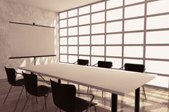 Projection Screen, Table and Chairs in Office Room Royalty Free Stock Image
