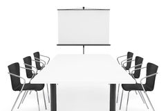Projection Screen, Table and Chairs Royalty Free Stock Image