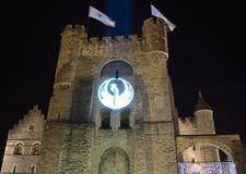 Projection of a swan at the entrance of the castle of ghent Royalty Free Stock Photography