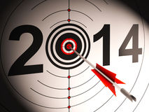 2014 Projection Target Shows Successful Future. 2014 Projection Target Showing Successful Future Royalty Free Stock Images