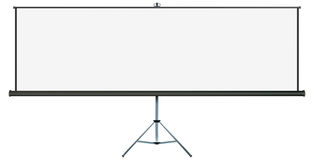 Projection widescreen. Screen with plenty of copy-space, place your own text or images on the wide projection screen Stock Photos