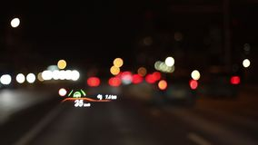The projection on the windshield of a car. Head-up display
