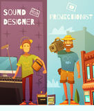Projectionist And Sound Designer Cartoon Banners Royalty Free Stock Image