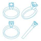 Projections de bagues de fiançailles de solitaire de diamant Images stock