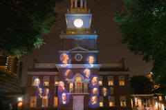 Projections of Founding Fathers on outside of Independence Hall, Philadelphia, Pennsylvania Royalty Free Stock Image