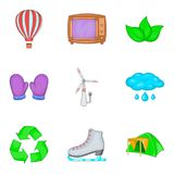 Projections icons set, cartoon style. Projections icons set. Cartoon set of 9 projections vector icons for web isolated on white background Royalty Free Stock Image