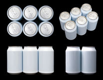 Projections of a six pack blank beverage cans Royalty Free Stock Photo