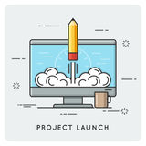 Projectlancering en opstarten Dun lijnconcept Stock Afbeeldingen