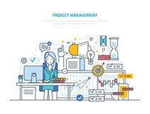 Projectleiding Het organiseren zich, controlerende bedrijfmiddelen, het bereiken projectdoelstellingen, planning Stock Foto