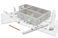 Projecto de construção, vista geral Imagens de Stock Royalty Free