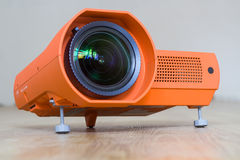 Projector with a big lens. A series of photos about the Video projector for work presentation or home cinema entertainment Stock Images