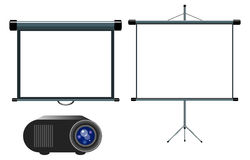 Projector and Blank Projector Screen vector illustration