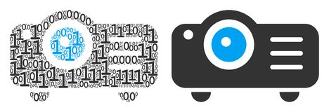 Projector Collage of Binary Digits. Projector collage icon of zero and one symbols in randomized sizes. Vector digits are organized into projector composition Stock Image