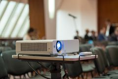 Projector demonstrates the presentation. At the conference royalty free stock photos