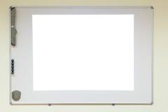 Projector desk board. Projector screen desk board with copy space Stock Photos