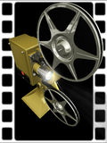 Projector film shows a film. On 3d image render of film projector show film on black background Royalty Free Stock Images