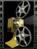 Projector film shows a film. On 3d image render of film projector show film on black frame background Stock Images