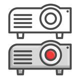 Projector flat icon, presentation and meeting, vector graphics, line and color icons on a white background, eps 10. Projector flat icon, presentation and Stock Photo