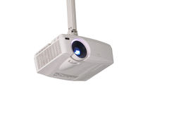 Projector. Hung from the ceiling isolated stock photos