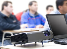 Projector and Laptop Stock Photos
