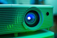 Projector lens conference light equipment room lecture royalty free stock images