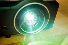 Projector lens, projector light, training and workshop stock image