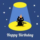 Projector light in the circus show Cute cartoon black cat with hat. Birthday Card. Flat design Stock Image