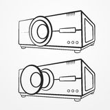 Projector line set Royalty Free Stock Image
