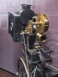 Projector 35 mm films. Paris,France- May 06,2017: Projector of 35 mm films `Theatrograph`; England; 1896,in the Museum of Cinema royalty free stock photo